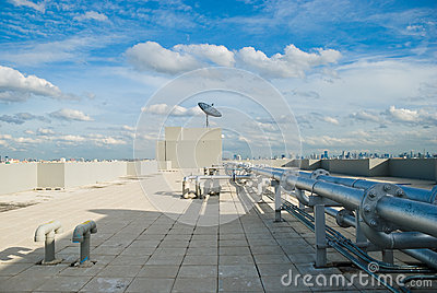 Rooftop with Satellite Dish and Pipe lines