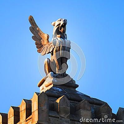 Rooftop statue in Barcelona