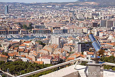 Rooftop view of Marseille with telescope