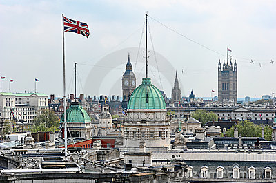 Rooftop view over Whitehall London England UK