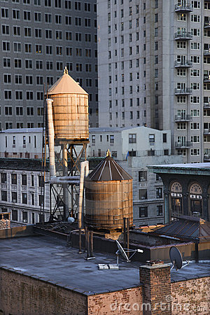 Rooftop Water Towers on NYC Buildings