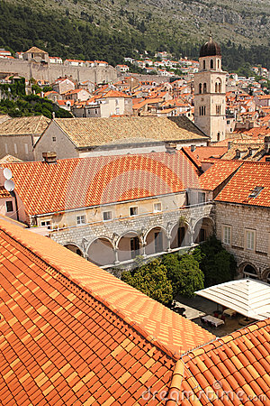 Rooftops franciscan monastery dubrovnik croatia stock - The house in the old franciscan tower ...