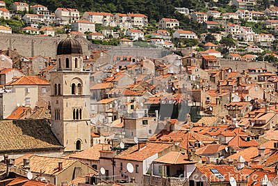 Rooftops view of the old town dubrovnik croatia - The house in the old franciscan tower ...