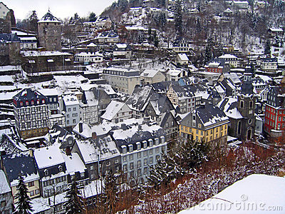 Rooftops winter Monschau Germany