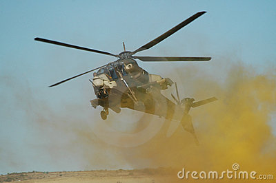 Rooivalk attack helicopter in battle