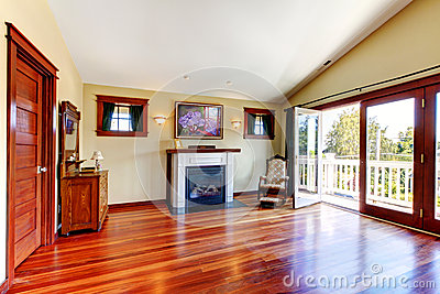 Room with beautiful chery hardwood