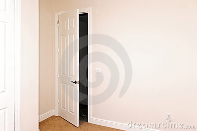 Room with door ajar