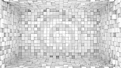 Room of extruded white cubes. Abstract 3D render Stock Photo