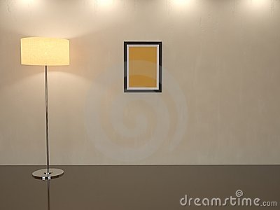 Room with a high floor lamp