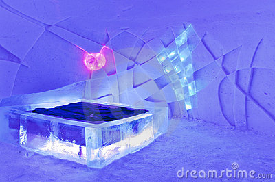 room in ice hotel Editorial Stock Photo
