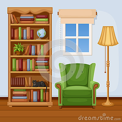 Free Room Interior With Bookcase And Armchair. Vector Illustration. Royalty Free Stock Photos - 41215518