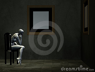 Room with mannequin on chair