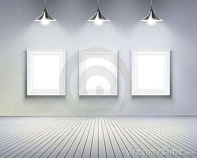 Room with pictures.  Vector illustration.