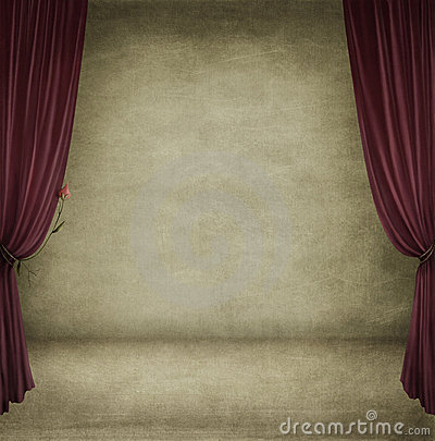 A room with red curtains