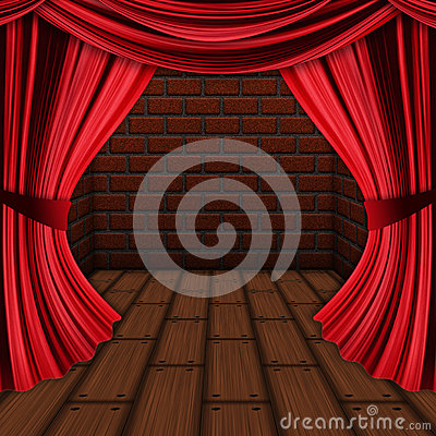 Room with red curtains