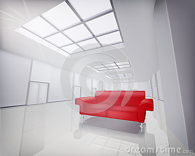 Room with red sofa