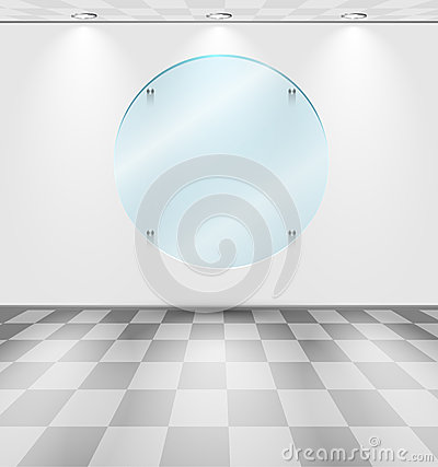Room with round glass placeholder