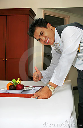 Room service deliver fruit with thumb up