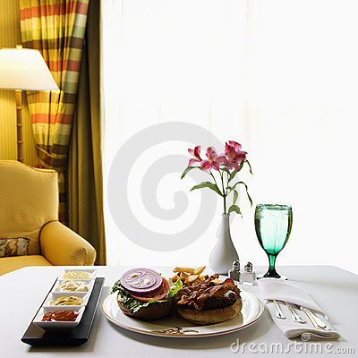 Free Room Service With Burger. Stock Photo - 2425840