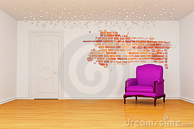 Room with splash hole, door and purple armchair
