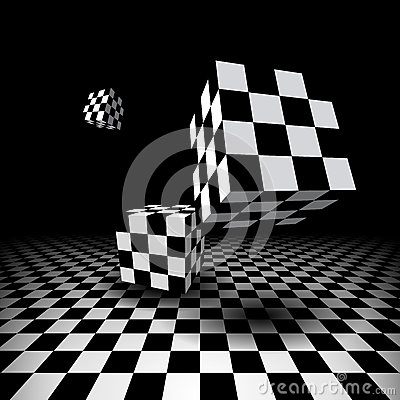 Free Room With Checkered Cubes Stock Photo - 42086780