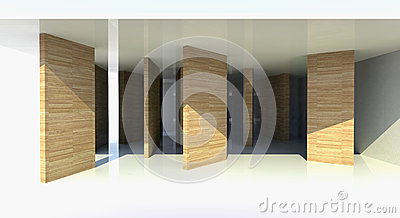 Room with wood partition, abstract architecture