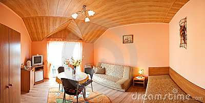 Room with wooden ceiling