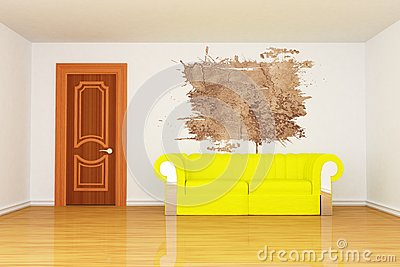 Room with yellow couch and splash hole