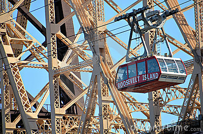 Roosevelt Island Tramway And Queensboro Bridge Editorial Stock Image