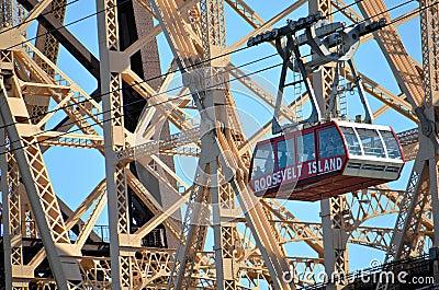 Roosevelt Island Tramway And Queensboro Bridge Editorial Stock Image