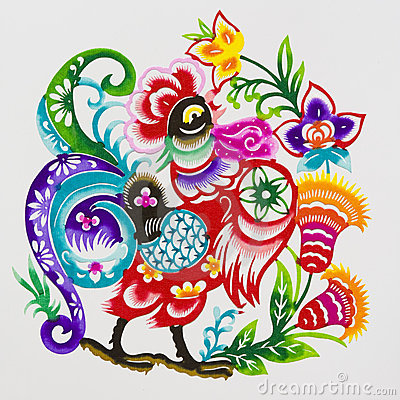 Free Rooster,color Paper Cutting. Chinese Zodiac. Royalty Free Stock Photo - 10991835