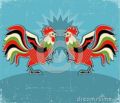Rooster fight.vector color illustration background