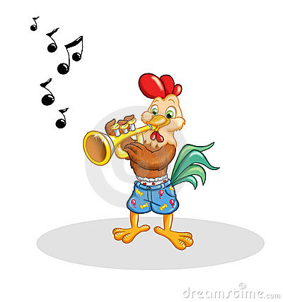 Rooster that plays the trumpet