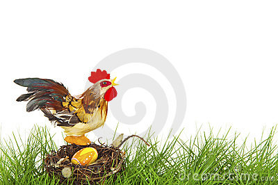 Rooster sitting on an easter nest
