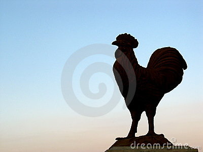 Rooster Statuary at Sunset