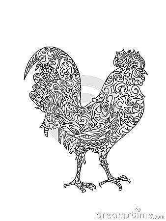 Rooster Zentangle Stock Illustration Image 54672424