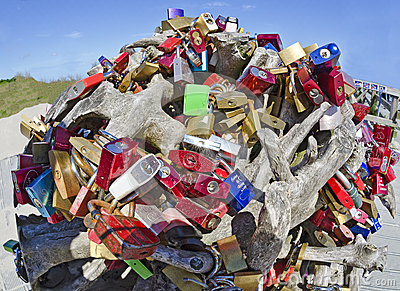 Root-stalk from driftwood with many different padlocks a proof of love ...