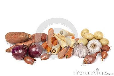 Root Vegetables  on White