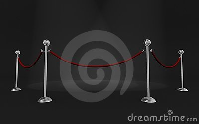 Rope barriers and scene lights