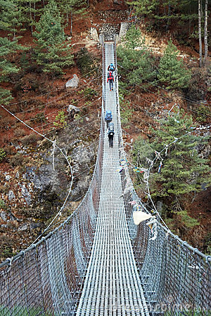 Rope bridge in Himalaya, Nepal