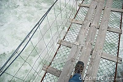 Rope bridge over wild water