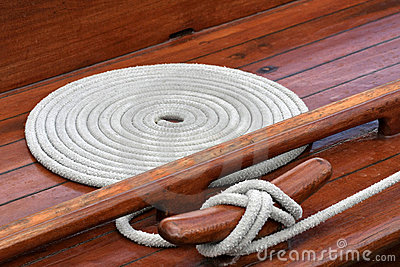 Rope and cleat on yacht