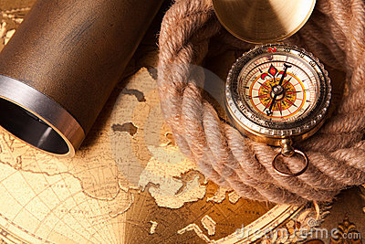 Rope, compass and map
