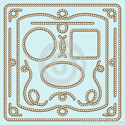 Free Rope Frame, Knots And Corners. Vector Decorative Elements Royalty Free Stock Images - 70927739