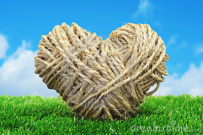 Rope heart on the grass
