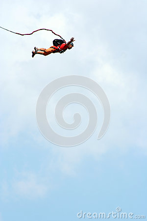 Free Rope Jumping.Bungee Jumping. Royalty Free Stock Photo - 49267715