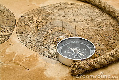 Rope, map and compass