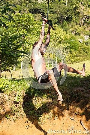 On rope swing