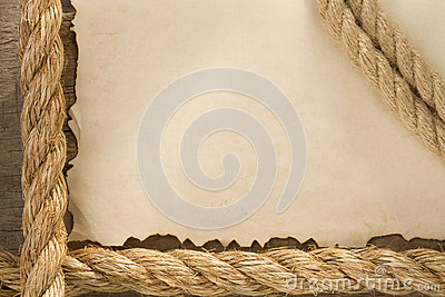 Ropes on old vintage ancient paper backgroun
