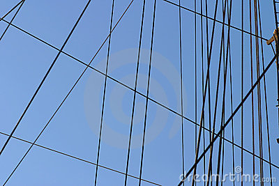 Ropes and Rigging on a Boat Mast Stock Photo